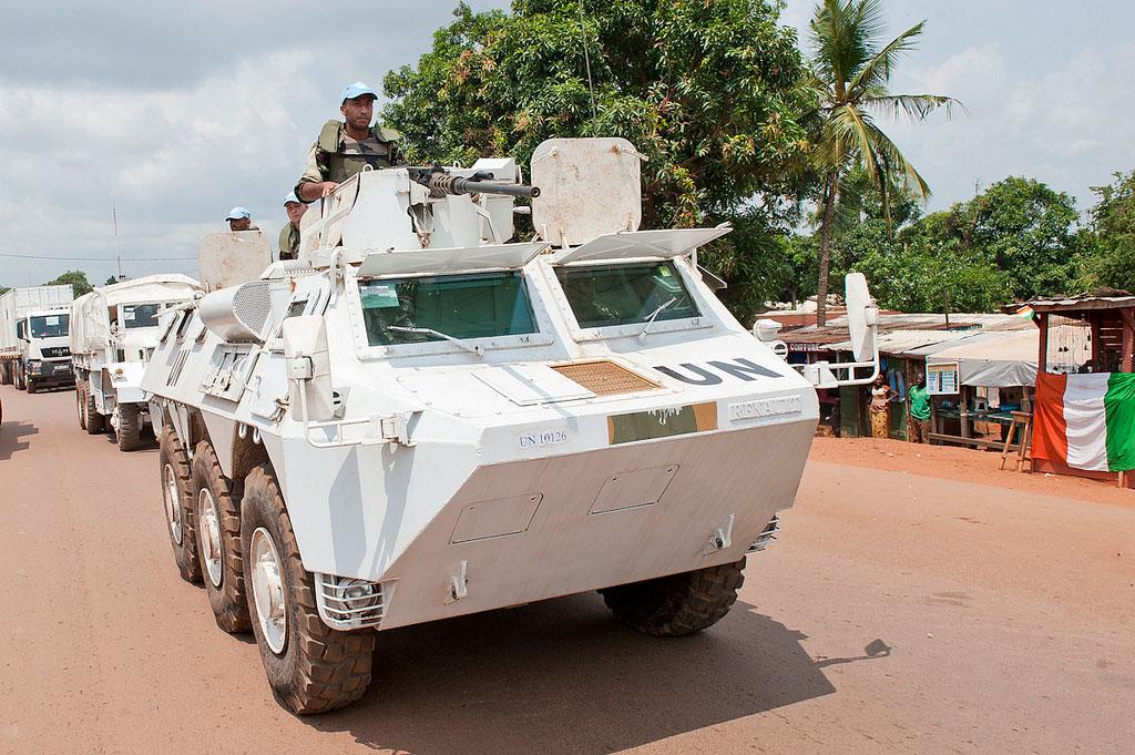 Des Casques bleus marocains de la Mission multidimensionnelle intégrée des Nations Unies pour la stabilisation en République centrafricaine (MINUSCA).