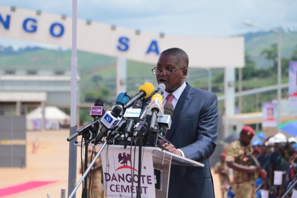 Le Pdg du Groupe Aliko Dangoté prononçant son discours de circonstance.