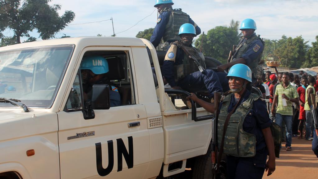 Des casques bleus en Centrafrique. © ISSOUF SANOGO / AFP
