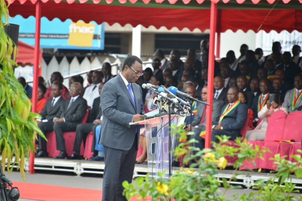 Le ministre d'Etat, Claude Alphonse N'Silou, au cours de son évocation