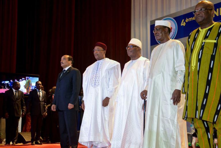 Les présidents mauritanien Ould Abdel Aziz, nigérien Mahamadou Issoufou, malien Ibrahim Boubacar Keita, tchadien Idriss Deby et burkinabè Roch Marc Christian Kaboré, le 6 février 2018 à l'ouverture d'un sommet du G5 Sahel à Niamey afp.com - BOUREIMA HAMA