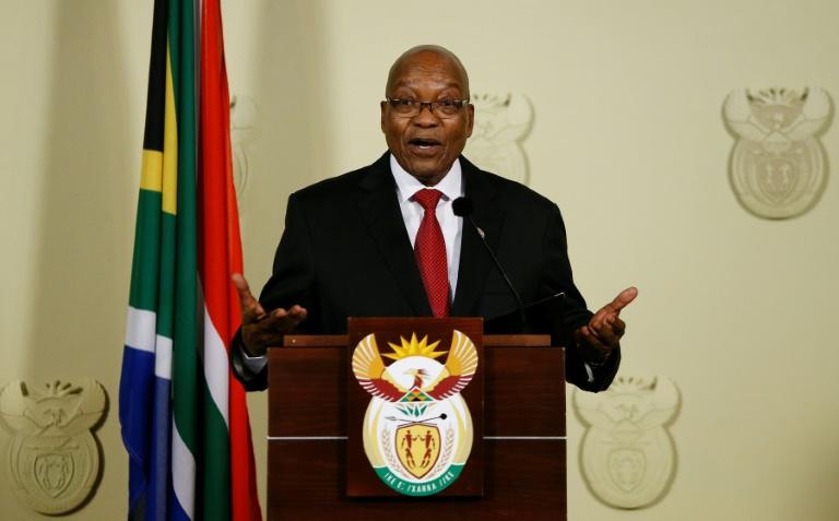 Le président sud-africain Jacob Zuma, annonçant sa démission au cours d'une conférence de presse le 14 février 2018 à Pretoria. / © AFP / Phill Magakoe