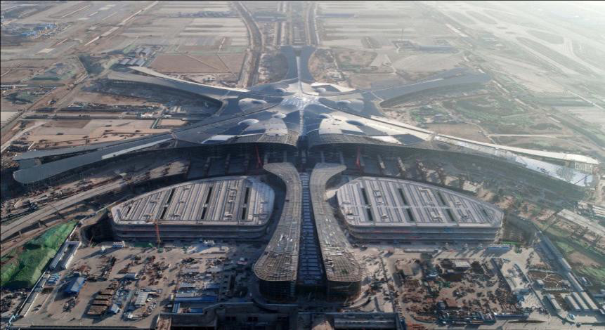 Photo taken shows Beijing's new airport under construction. (Photo by Lei Sheng from People's Daily)