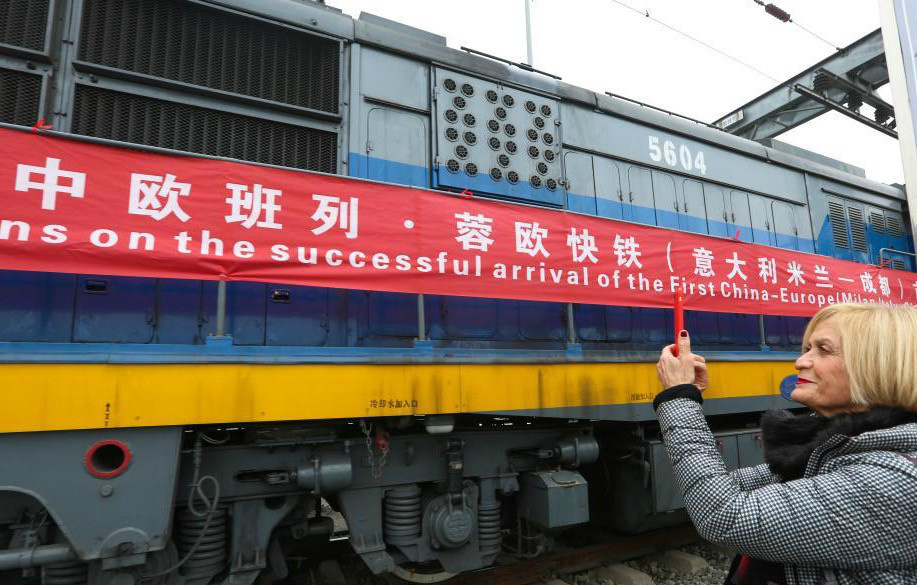 A train arrives at Chengdu International Railway Port on Dec. 17, 2017 for the first test run of the China-Europe cargo rail heading from Chengdu, southwestern China's Sichuan province to Milan, Italy. It is the 11th international cargo rail line launched in Chengdu. (Photo by Bai Guibin from People's Daily Online)