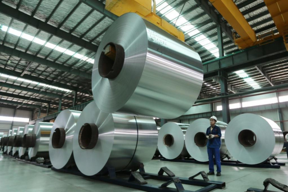 A worker is working at an aluminum production plant in central China's Anhui province on Aug. 3, 2017. (Photo from CFP)