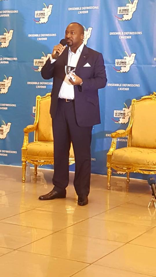 Denis Christelle Sassou Nguesso s'adressant à l'auditoire.