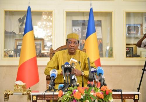 Le président de la République, Idriss Déby au Palais présidentiel, face à la presse, pour la conférence de presse du 11 août 2018.