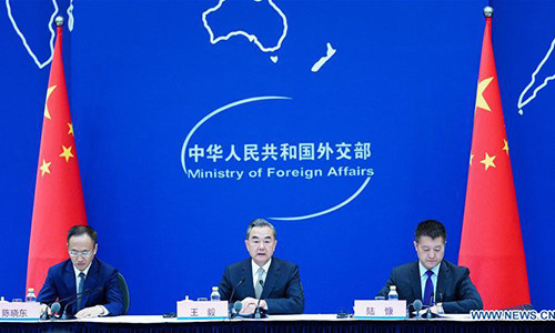 The Chinese Foreign Ministry holds a press conference on the Forum on China-Africa Cooperation (FOCAC) 2018 Beijing Summit in Beijing, capital of China, Aug. 22, 2018. Chinese President Xi Jinping will deliver a keynote speech at the opening ceremony of the FOCAC 2018 Beijing Summit on September 3, State Councilor and Foreign Minister Wang Yi announced at the press conference Wednesday. (Xinhua/Wang Jianhua)