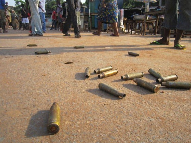 Photo d'illustration. Des douilles de AK-47 au sol dans un conflit armé en Afrique centrale. Crédits photo : DR
