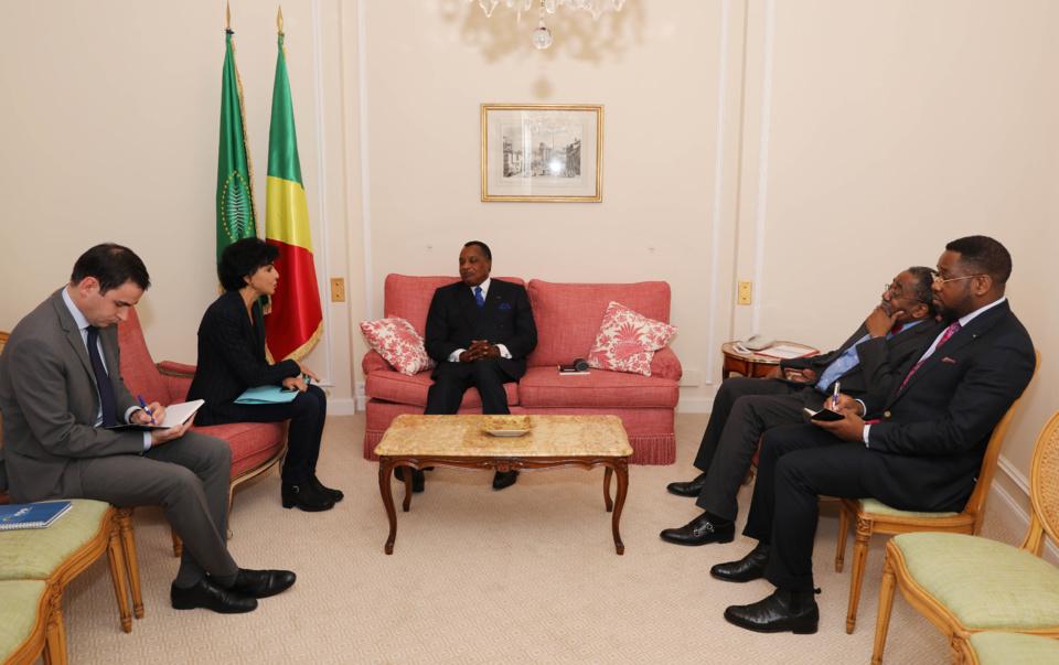 Denis Sassou N'Guesso et Rachida Dati, au cours de l'entretien.