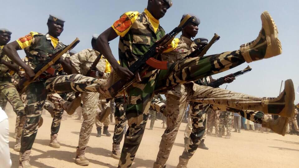 Des militaires tchadiens lors d'un défilé à Abéché. © Alwihda Info