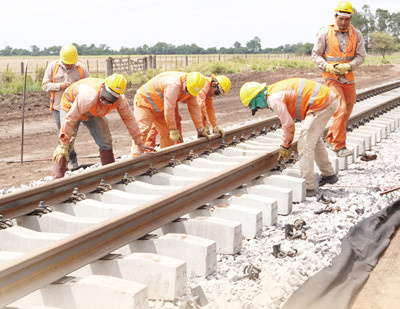 Renovation construction site in Salta province section of the Belgrano Cargas cargo railroad in Argentina. (Photo by Wang Di from People's Daily)