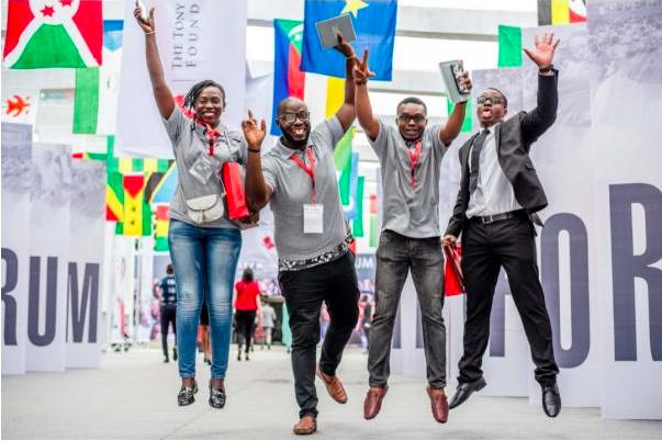Une vue de jeunes entrepreneurs africains enthousiastes lors de l'édition 2018 du Forum d'Entreprenariat de la TEF.