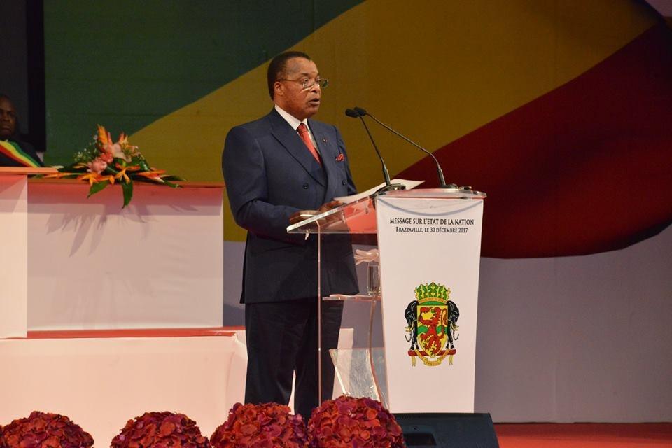 Denis Sassou N'guesso devant le parlement en congrès en 2017