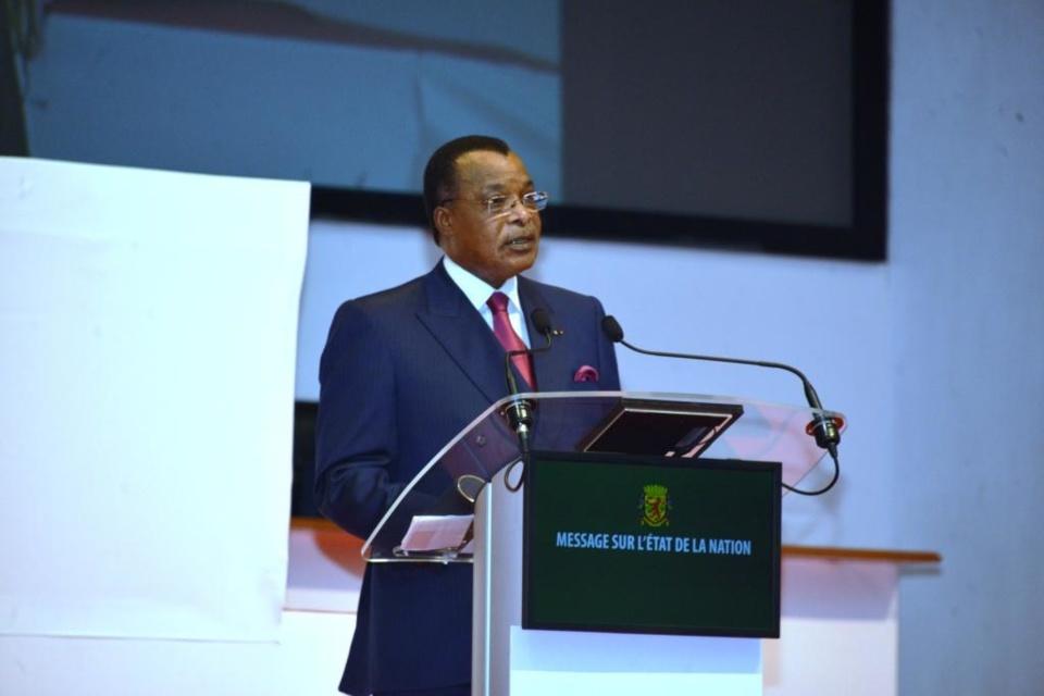 Denis Sassou N'Guesso devant le parlement réuni en congrès.