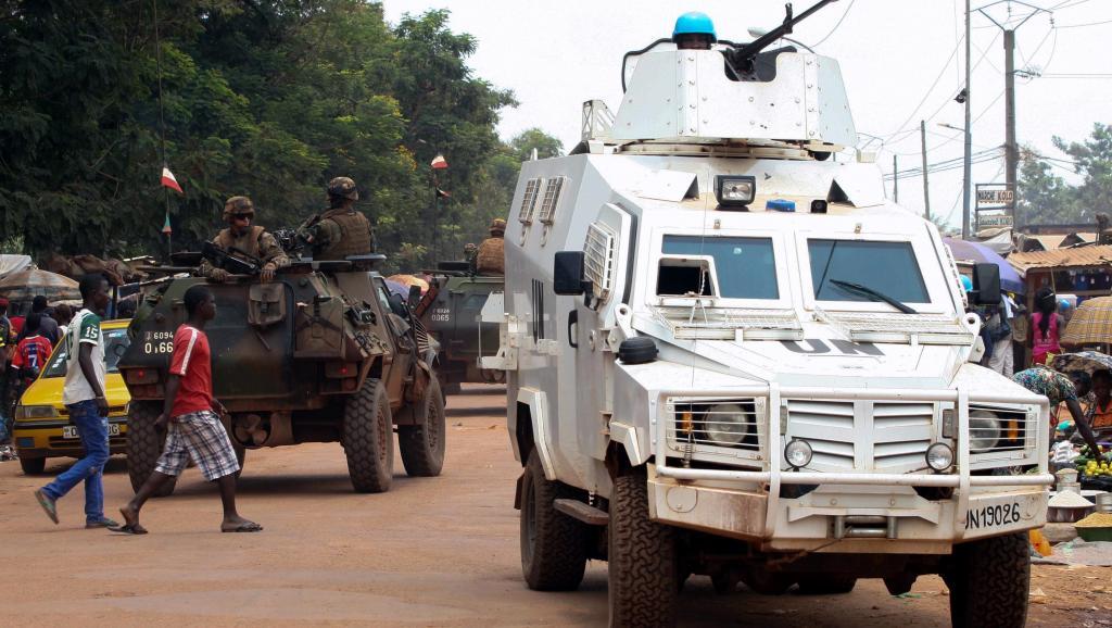 Patrouille de la Minusca à Bangui, le 14 septembre 2015. © AFP PHOTO / EDOUARD DROPSY