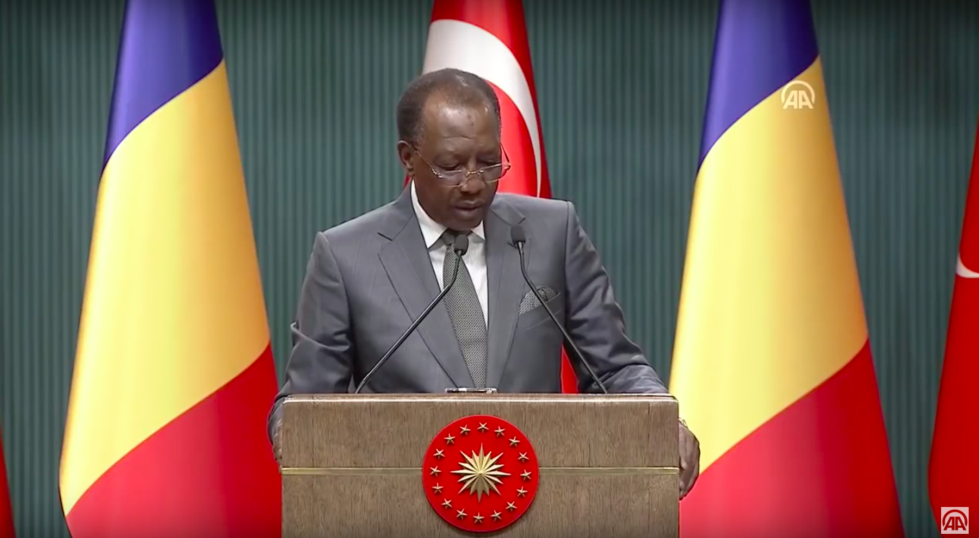 Le président du Tchad, Idriss Déby, lors d'une conférence de presse au Palais présidentiel turc, mercredi 27 février 2019. © A.A.