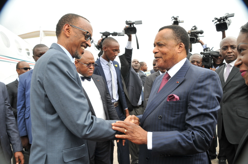 Denis Sassou N'Guesso et Paul Kagamé à Brazzaville (photo d'archives)