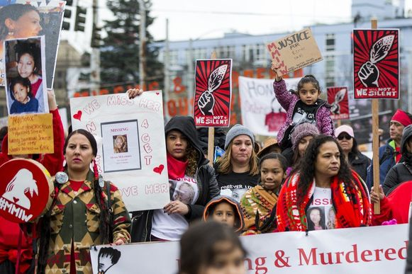 The Native American Women's March in Seattle (January 2017) demanded justice for Missing and Murdered Indigenous Women, one of the issues highlighted by the UN Committee on Civil and Political Rights in its questions to the United States.  Photo credit: Seattle Times