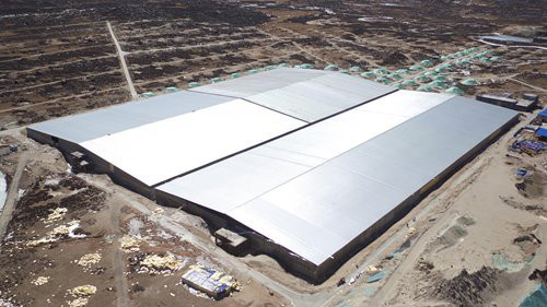 The bird view of 78,000 square meter LHAASO-WCDA. (Photo: Courtesy of IHEP)
