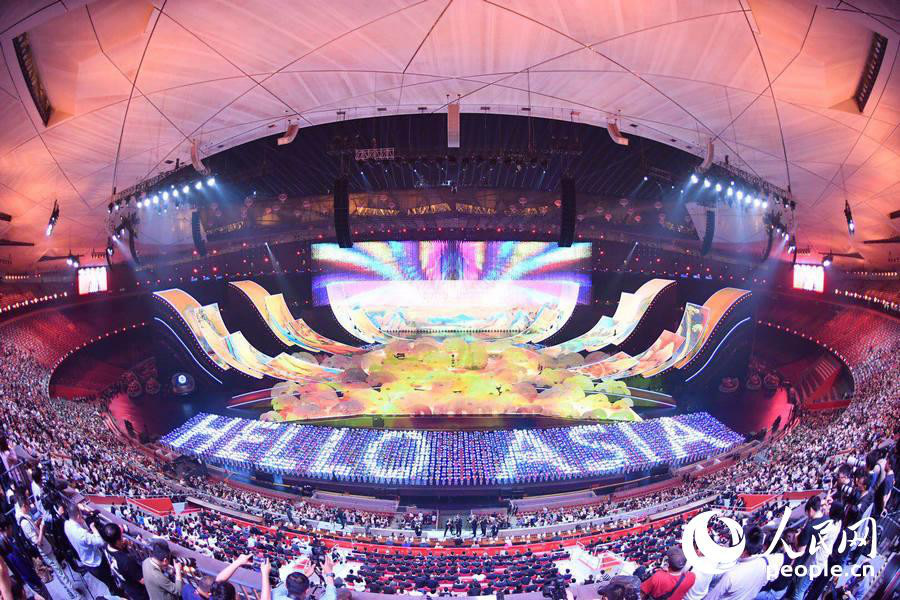 The Asian Culture Carnival, a celebratory activity for the Conference on Dialogue of Asian Civilizations, is held at Beijing's National Stadium on May 15, 2019. (People's Daily Online/Yu Kai)