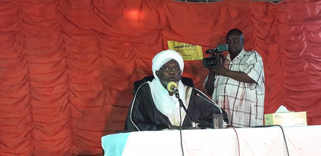 Cheikh Ahmat Alnour Mahamat Alhilou, prédicateur du CSAI déployé à Abéché, à l'Est du Tchad, samedi 15 juin 2019. © Alwihda Info