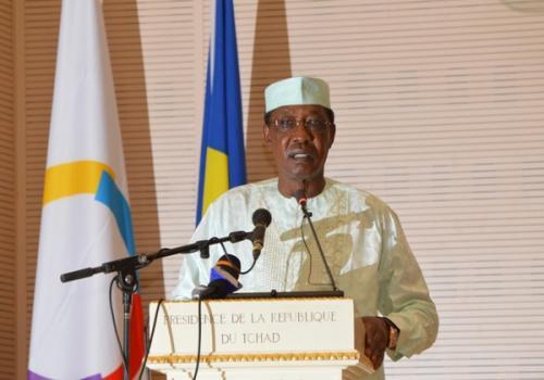 Le président tchadien Idriss Déby lors du lancement de la conférence internationale sur l'éducation des filles, mardi 18 juin 2019. © PR