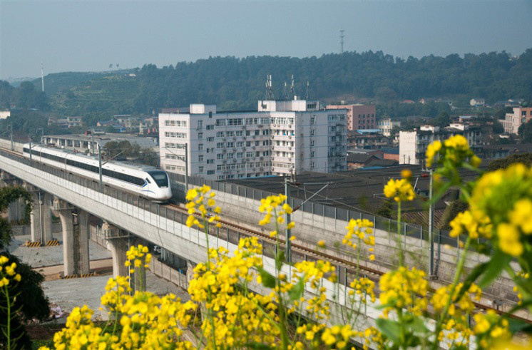 On March 10, 2019, on the outskirts of Pujiang County, Sichuan, the China Railway High-speed (CRH) drove past the village full of flowers. Chengya Railway, a section of the Sichuan-Tibet Railway, has been running through the whole line. (Photo by Zhu Chunjian from People's Daily Online)