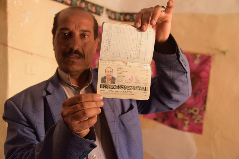 Despite having a passport, Mohammed Al Kayal, father of three, could not make it out of Yemen. Photo: Karl Schembri/NRC