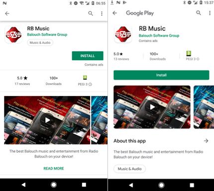 Figure 1. L'application malveillante Radio Balouch est apparue deux fois sur Google Play.