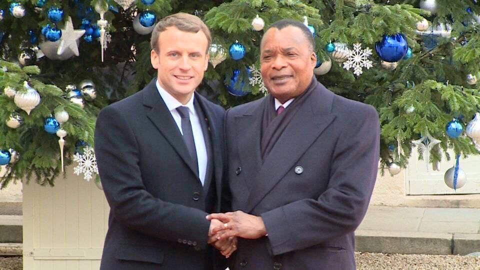 Emmanuel Macron et Denis Sassou N'Guesso.
