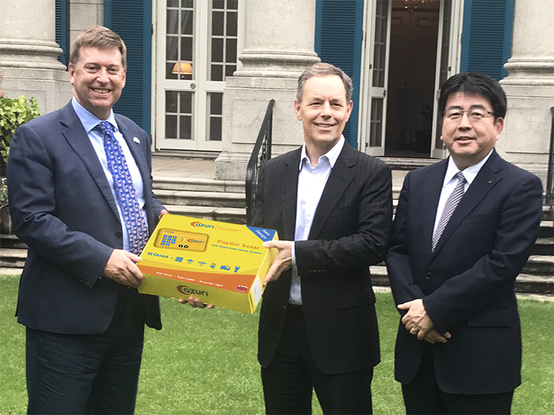 At the British Embassy following the last day of TICAD7, the UK's Ambassador Paul Madden, is joined by Azuri CEO Simon Bransfield-Garth, and Yoshiaki Yokota, Chief Operating Officer, Power Business Division at Marubeni Corporation to discuss next-generation energy in Africa.