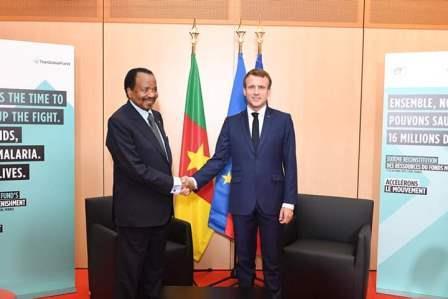 Les présidents Paul Biya et Emmanuel Macron : accord parfait.