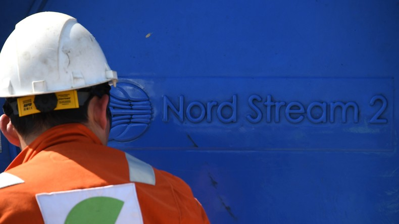 Worker on the construction site of the Nord Stream 2 gas pipeline in the Leningrad region. © Ilya Pitalev/Sputnik