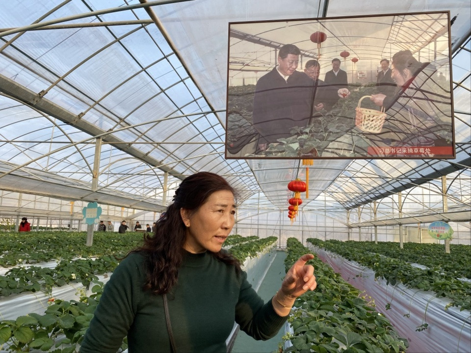 Ye Minglan recommends her strawberries to visitors. (Photo by Fu Yongchao from People's Daily Overseas Edition)