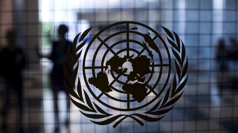 Le logo de l'ONU - blanc sur fond bleu - est une carte du monde entourée de rameaux d'olivier, symboles de paix. Par souci d'équité, la représentation du monde est équidistante et azimutale, centrée sur le pôle nord. [© Mike Segar - Reuters]