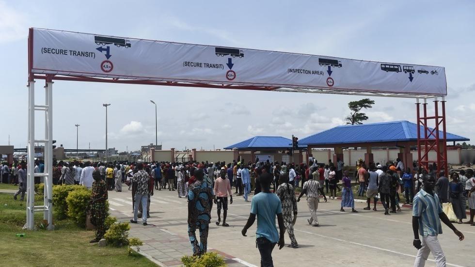 Le poste de Sèmè-Kraké lors de son inauguration en octobre 2018 à la frontière du Nigeria et du Bénin. PIUS UTOMI EKPEI / AFP