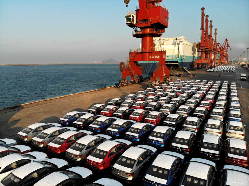 Five hundred automobiles manufactured by a Chinese carmaker are about to be shipped to the Netherlands at a dock of Lianyungang port, east China's Jiangsu province, Feb. 3, 2020. Photo by Wang Chun, People's Daily Online