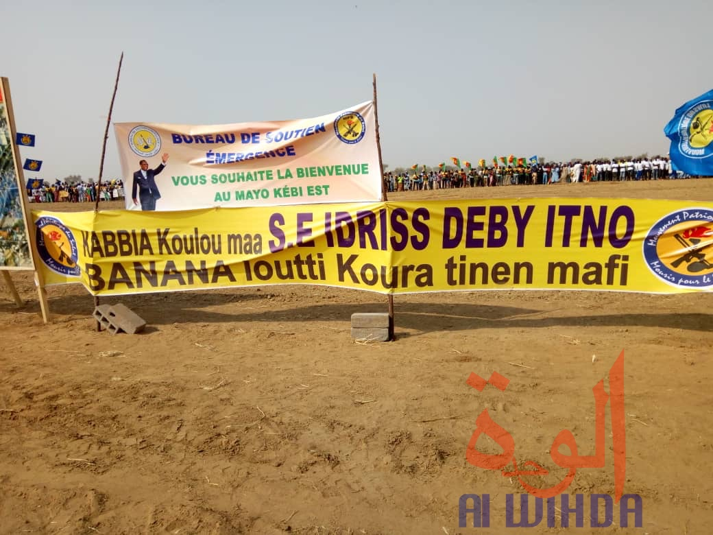 Une banderole lors de la cérémonie de pose de la première pierre du Pont Bongor-Yagoua, le 27 février 2020. © Golmen Ali/Alwihda Info