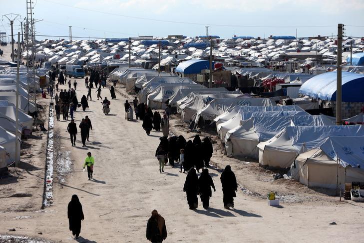 Le gigantesque camp de réfugiés d'Al-Hol, à quelques dizaines de kilomètre d'Hassaké. © ALI HASHISHO/REUTERS
