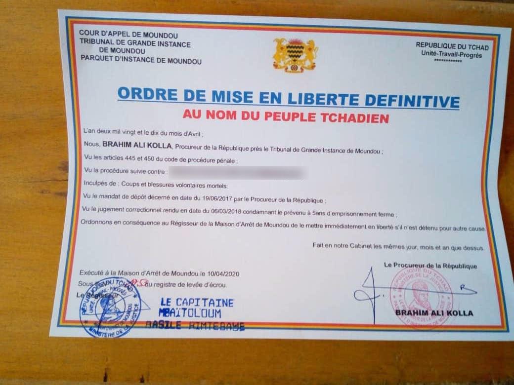 Tchad : 52% des détenus de la prison de Moundou libérés. © Golmen Ali/Alwihda Info