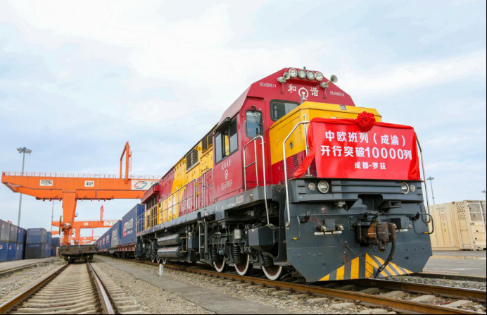 A China-Europe freight train carrying electronic and machinery products departs from the international railway port of Chengdu, southwest China's Sichuan province, March 27, 2020. Photo by Bai Guibin, People's Daily Online