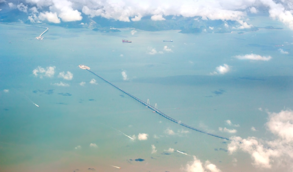 An aerial view of the HZM Bridge. (Photo/People's Daily Online)