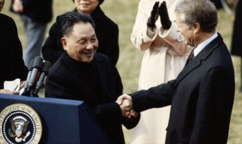 Former Vice Premier of China Deng Xiaoping shakes hands with then U.S. President Jimmy Carter at the White House, Jan. 30, 1979. File photo