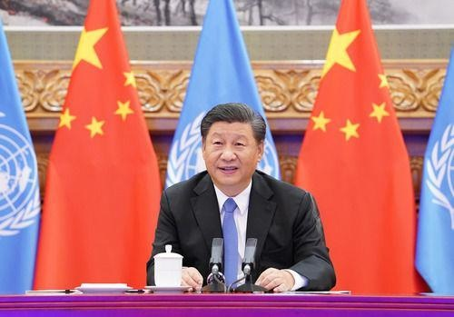 Chinese President Xi Jinping meets with UN Secretary-General Antonio Guterres via video link, Sept. 23. (Photo by Rao Aimin/Xinhua News Agency)