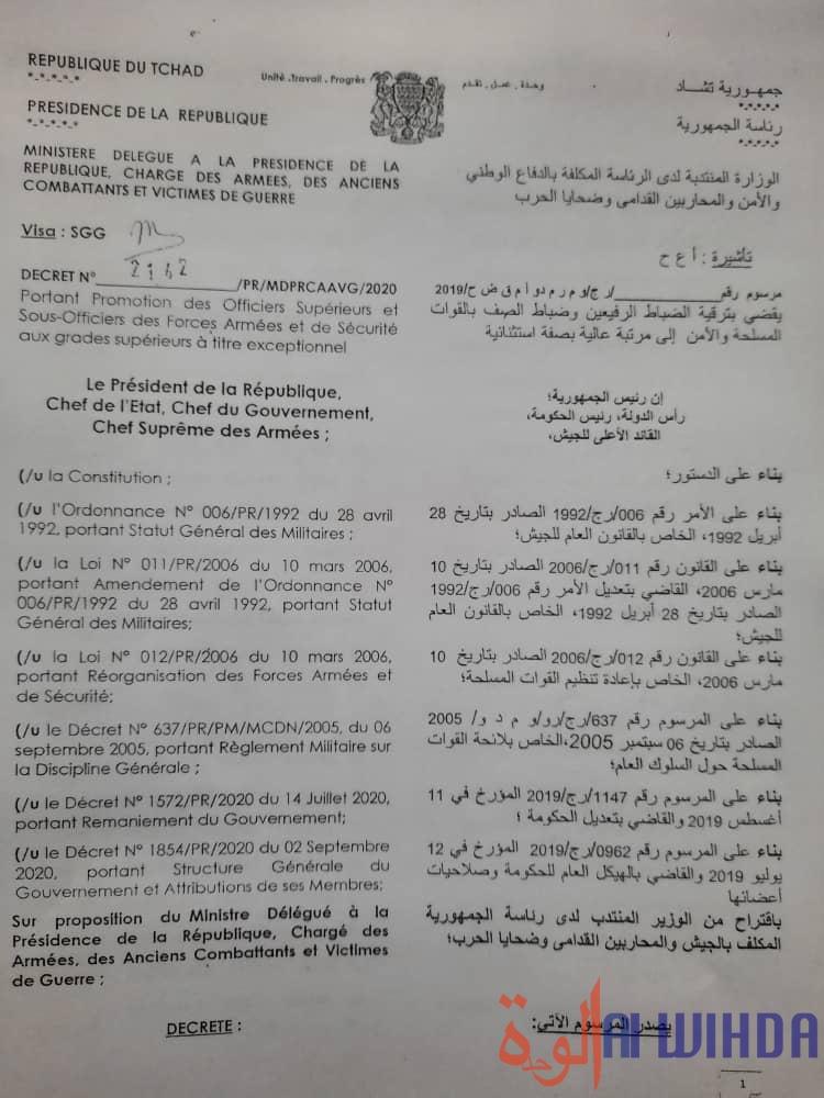 Tchad : décret de promotion de 158 officiers et sous-officiers à titre exceptionnel