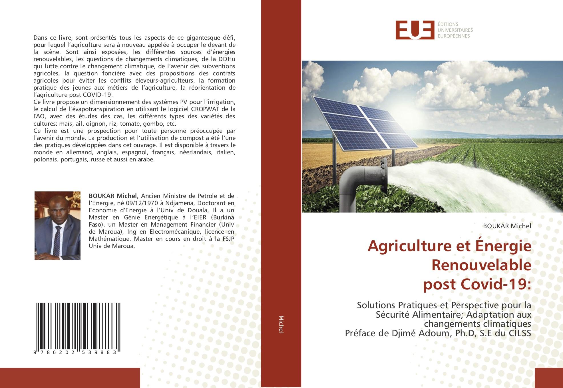 L'ex-ministre Boukar Michel sort un livre sur l'agriculture et l'énergie renouvelable post Covid-19