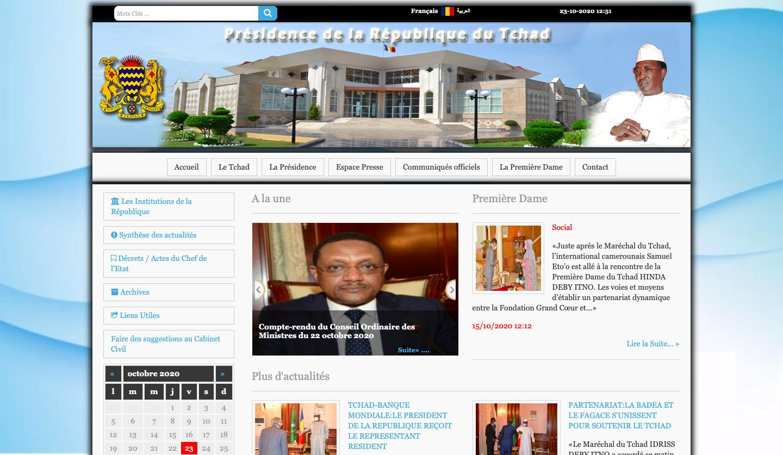 Ancien design du site de la Présidence du Tchad. © Capture d'écran