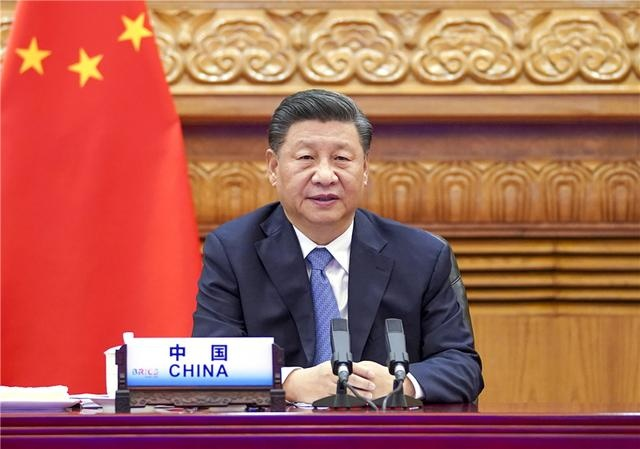 Chinese President Xi Jinping attends the 12th BRICS summit via video link in Beijing and delivers a speech, Nov. 17. (Photo by Li Xueren /Xinhua News Agency)