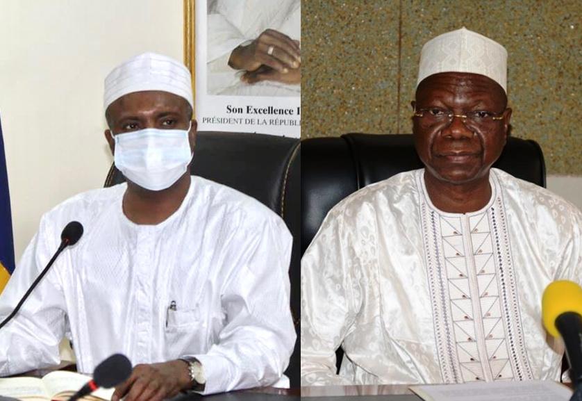 Le ministre de la Santé publique Dr. Abdoulaye Sabre Fadoul (gauche) et le coordonnateur de l'action gouvernementale Kalzeubé Payimi Deubet.